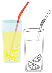 Lemonade with lemon. Coloring page, game for kids. Vector illustration.