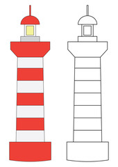 Lighthouse. Coloring page, game for kids. Vector illustration.
