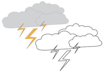 Rain clouds with lightning. Coloring page, game for kids. Vector illustration.