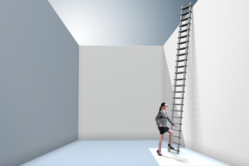 Businesswoman climbing a ladder to escape from problems