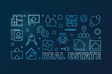 Real Estate outline vector blue horizontal illustration
