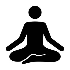 A person meditating in a state of zen calmness flat vector icon for yoga meditation apps and websites
