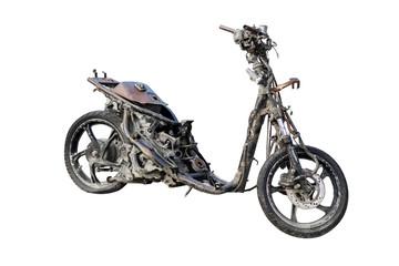 Burned scooter parked on studio