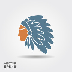 Native American Indian chief with feather headdress vector icon
