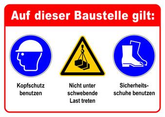 adbg1 AufDieserBaustelleGilt adbg - ks361 Kombi-Schild - Auf dieser Baustelle gilt: Kopfschutz und Sicherheitsschuhe benutzen - Nicht unter schwebende Last treten - DIN A1 A2 A3 Poster - xxl g6337