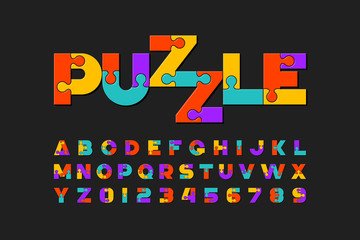 Puzzle font, colorful jigsaw puzzle alphabet letters and numbers Wall mural