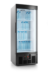 Upright refrigerated cabinet with glass door. Water bottles on shelves. 3d
