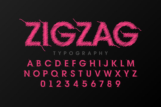 Zigzag font stitched with thread, embroidery font alphabet letters and numbers