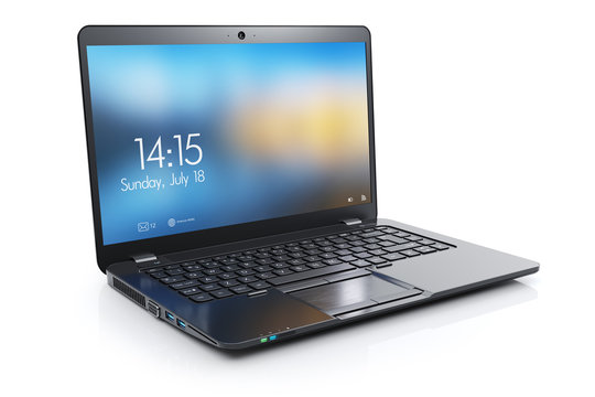 Black modern laptop with open display. 3d render