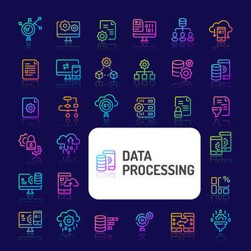 Data Processing Gradient Line Icon Set (EPS 10)