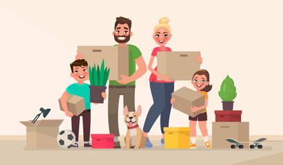 Happy family and moving to a new home. Buying a new house or apartment