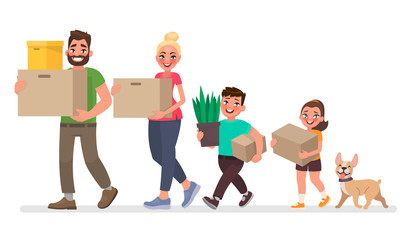 Moving to a new house. Father, mother, son and daughter are carrying things