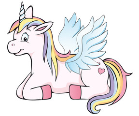 cute winged unicorn winks lying