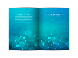 Vector template for brochure or cover with molecular structure background and connected lines and dots. Medicine, science and digital technology concept.