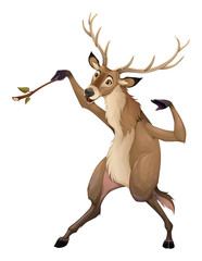 Funny deer is playing with a branch like a conductor