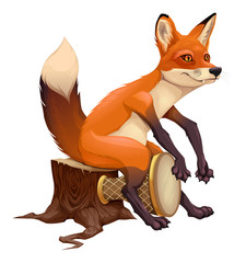Canvas Prints kids room Funny fox is playing with the drum.