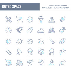 Outer Space & Planets Minimal Vector Icon Set (EPS 10)