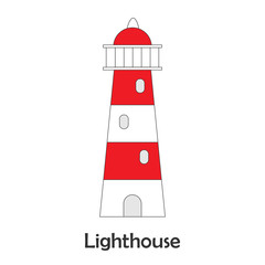Lighthouse in cartoon style, marine card  for kid, preschool activity for children, vector illustration