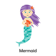 Mermaid in cartoon style, marine card  for kid, preschool activity for children, vector illustration