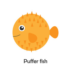 Puffer fish in cartoon style, marine card with ocean animal for kid, preschool activity for children, vector illustration