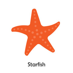 Starfish in cartoon style, marine card  for kid, preschool activity for children, vector illustration