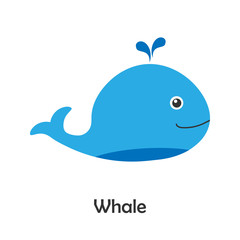 Whale in cartoon style, marine card with ocean animal for kid, preschool activity for children, vector illustration