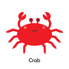 Crab in cartoon style, marine card with ocean animal for kid, preschool activity for children, vector illustration