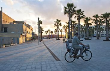 Radfahrer am Paseo Maritimo von Barcelona, Katalonien, Spanien