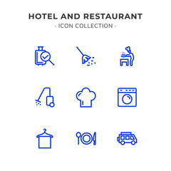 Simple Set of Hotel and Restaurant Related Color Vector Line Icons. Trendy Flat Style isolated on Slate White Background.
