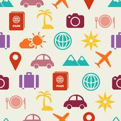 travel flat icons seamless pattern