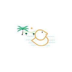 Logo beach duck illustration vector, blue sea