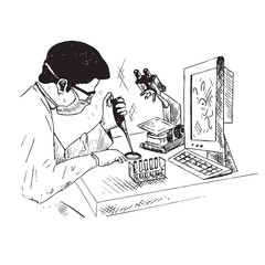 A male scientist is studying something in test tube, microscope and computer on the table, hand drawn doodle, sketch outline black and white vector illustration