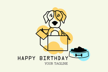 Beagle standing Greeting card for Birthday with a cute pug. Cartoon dog Vector illustration for a postcard or poster.