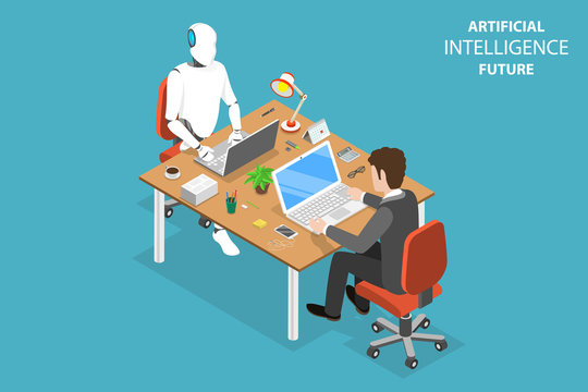 Flat isometric vector concept of AI future, robot and human cooperation, artificial intelligence, business automation.