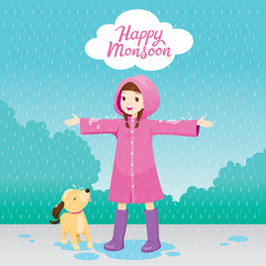 Girl In Pink Raincoat Stretch Arms Happily In The Rain With Her Dog
