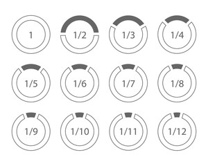 Set of arithmetic fractions segmented ring design element template