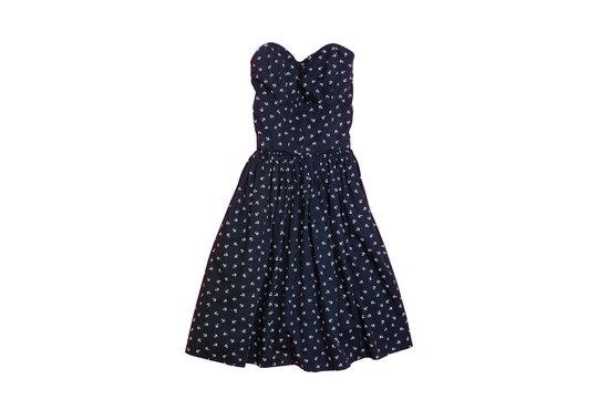 Fashionable concept. Female summer wardrobe. Blue sundress on a white background. Isolate