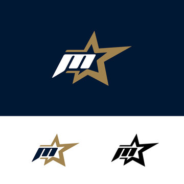 Letter M logo template with Star design element. Vector illustration. Corporate branding identity