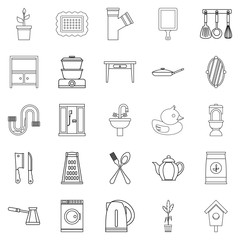 Appliances icons set. Outline set of 25 appliances vector icons for web isolated on white background