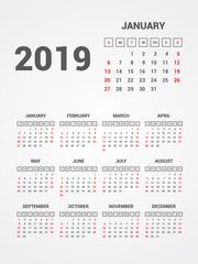 Calendar 2019. EPS 10.