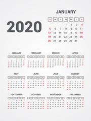 Calendar 2020. EPS 10.