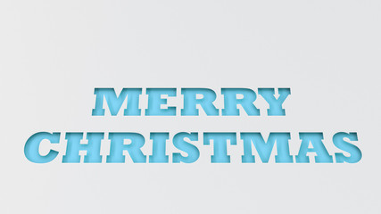 Blue Merry Christmas words cut in white paper