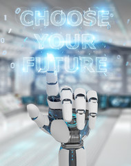 White cyborg hand using future decision text interface 3D rendering