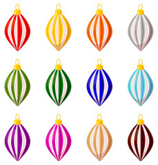Colorful cartoon xmas tree decoration set