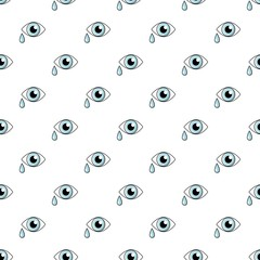 Crying eye pattern in cartoon style. Seamless pattern vector illustration