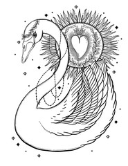 Sketch graphic illustration Beautiful Swan sun fairytale character with mystic and occult hand drawn symbols. Vector illustration. Vintage Hands with Old Fashion Tattoos.