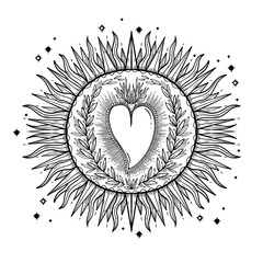 Sketch graphic illustration Beautiful Sun with mystic and occult hand drawn symbols. Vector illustration. Vintage Hands with Old Fashion Tattoos.
