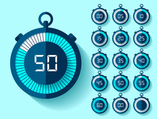 Stopwatch icons set in flat style from 0 to 60, timers on blue background. Sport speed clock. Vector design element for you business project