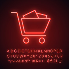 Shopping trolley neon light icon