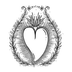 Sketch graphic illustration Beautiful heart with mystic and occult hand drawn symbols. Vector illustration. Vintage Hands with Old Fashion Tattoos.